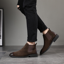 2019 vintage men booties Genuine Leather Chelsea Boots suede Ankle Boot Mens Fashion Spring Autumn Boots Slip on Shoes zapatos