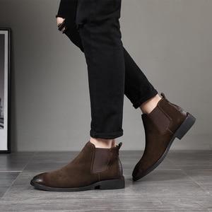 Image 1 - 2019 בציר גברים נעלי עור אמיתי צ לסי מגפי זמש קרסול אתחול גברים של אופנה אביב סתיו מגפיים להחליק על נעליים zapatos