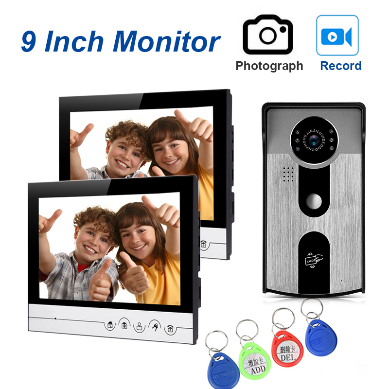 9 Inch Touch Key Color Video Doorphone Intercom System Doorbell Kits With Recording And IR Night Vision Camera For Home Security