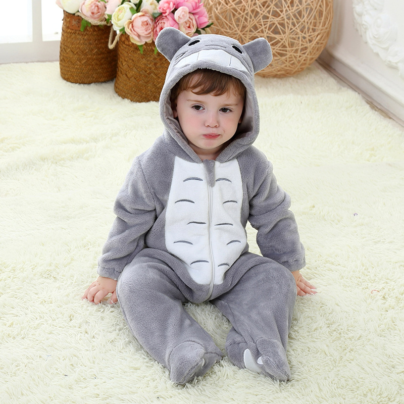 Totoro Baby Romper Boys Jumpsuit Winter Warm Flann