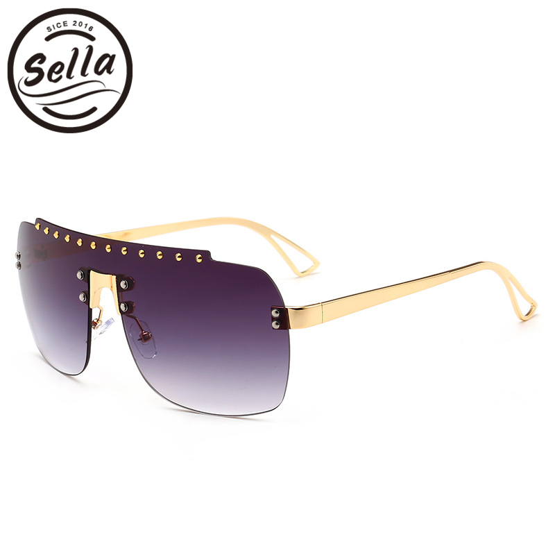 Sella 2018 New Fashion Oversized Rimless Conjoined Sunglasses Trending Men Women Nail Decoration Gradient Lens Sun Glasses UV400