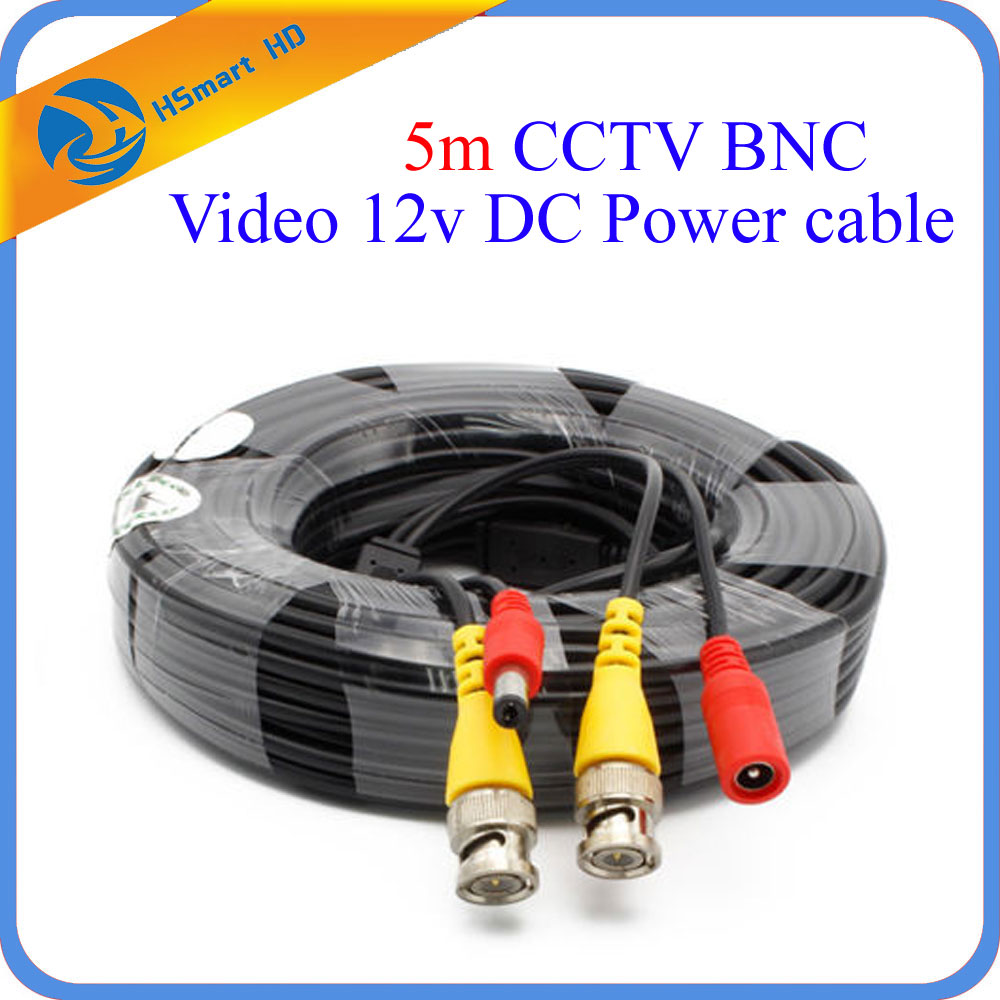 Surveillance System 5 Meters 16ft CCTV BNC Video 12v DC Power cable for Security 1080P IR AHD TVI CVI CCTV Security Camera DVR ac 110 240v to dc 12v 1a power supply adapter for cctv hd security camera bullet ip cvi tvi ahd sdi cameras eu us uk au plug