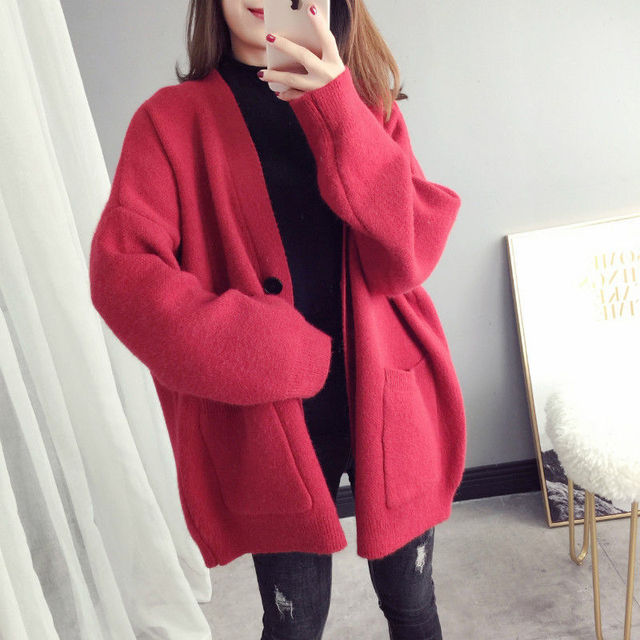 PEONFLY 2019 Fashion Basic Women Knitted Cardigans Tide Solid Loose Casual Long Sleeve Elegant Sweaters Coat Female Jacket