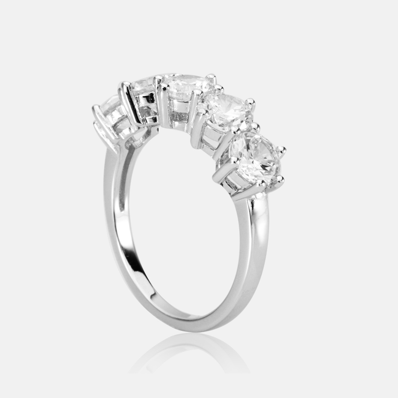 цена на COLORFISH 2.5ct Five Stone Wedding Ring 925 Sterling Silver Prong Set 5mm Stone Round Cubic Zirconia Engagement Band For Women