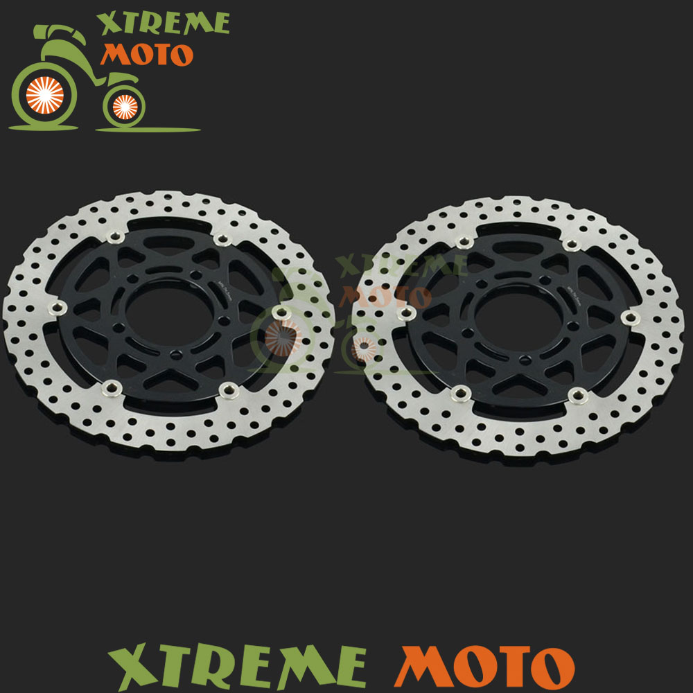 2Pcs Black Motorcycle Front Floating Brake Disc Rotor For ZX6R ER-6F EN-6N Versys 650 1000 Z750R Z1000 ZX10R ZX600R ZX636 ZX600N 2pcs black motorcycle front floating brake disc rotor for cbr1100xx blackbird cb1100sf cb1300 cb1300f sc42 1100cc 1284cc