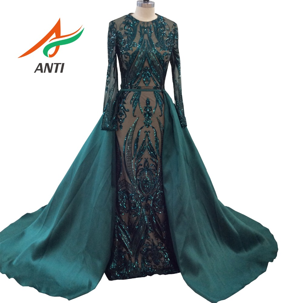 ANTI Dark Green Vintage A-Line Fashion   Evening     Dresses   2019 New Sequined Appliques With Detachable Train Formal Gowns In Stock