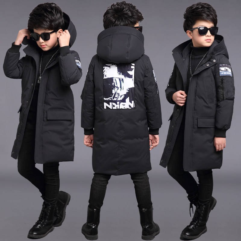 Children's Clothing Men's Cotton Jacket 2019 New Children's Long Cotton Jacket Boys Winter Thick Warm Cotton Clothing