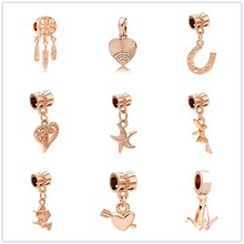 Love Feather Paper Crane Starfish Rose Gold Charm Pendants Fit Pandora Bead Bracelets Original For Women Charms DIY Jewelry(China)