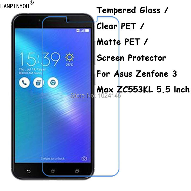 Tempered <font><b>Glass</b></font> / Clear PET / Matte PET -- Screen Protector Protective Film Protection Guard For <font><b>Asus</b></font> Zenfone 3 Max <font><b>ZC553KL</b></font> 5.5