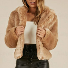 Laipelar Women warm faux fur coat fluffy plush short jacket tops women elegnat winter fur coat jacket cardigan overcoat outwear