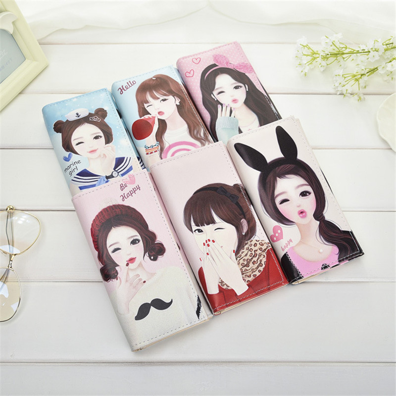 Cartoon Printing Leather Wallet Women PU Long Cute Beautiful Girl Hasp Clutch Purse Card Holder Money Bag 10 Model 2017 new women wallets cute cartoon bear lady purse pu leather clutch wallet card holder fashion handbags drop shipping j442