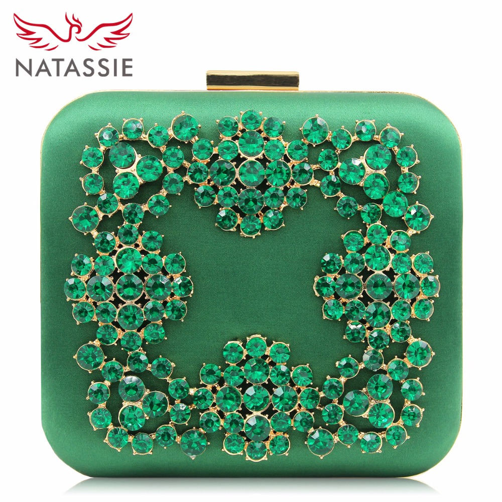 Natassie Women Evening Bags Ladies Clutch Purse Blue Diamond Box Clutches Wedding Party Bag