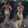 Nueva colección de novia sin tirantes de sirena larga vestidos 2016 oro lentejuelas drapeado Backless atractivo del baile vestido de noche