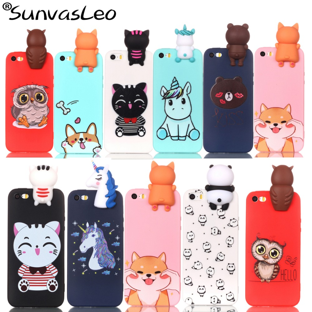 For iPhone 5 5S 5C SE Case 3D Cartoon Soft Silicone Phone Cover Shell Skin Cases Shell Fundas Coque For iPhone Cases Protector in Half wrapped Cases from Cellphones Telecommunications