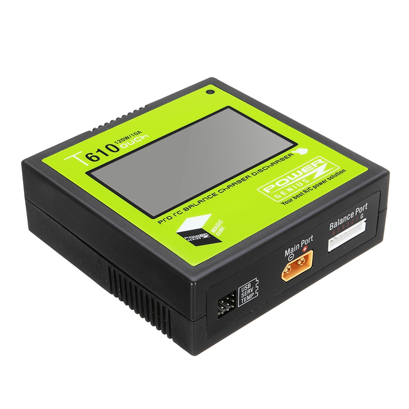 PG T610 120W 10A Lipo Battery Balance Charger 3.2 Inch Touch Screen Support 4.35-4.40V LiHV for RC Models Toys Charging original ev peak d1 rc lipo battery charging for yuneec typhoon q500 intelligent balance battery charger