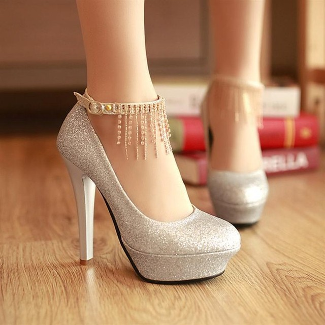 Women Rhinestones Silver Pumps With Ankle Strap Gold High Heels ...