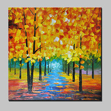 Hand-Painted Gold Tree Abstract Landscape Modern Knife Oil Painting On Canvas Home Decor Wall Pictures for Living Room