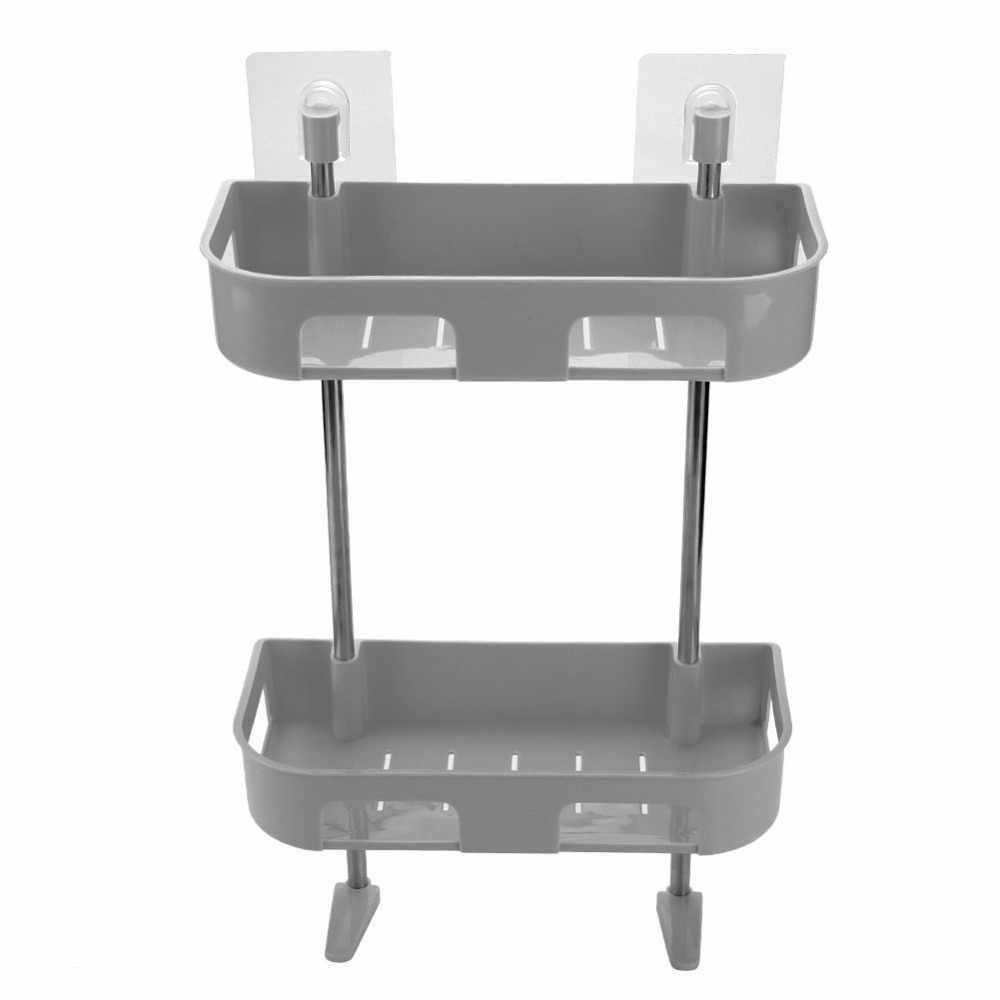 Wielofunkcyjny łazienka półka kuchenna organizator 2 warstwy zlew do mycia Rack półka do paznokci na ścianie bez wiszący stojak do przechowywania