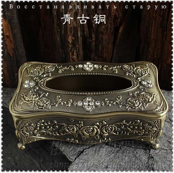 Classic embossed rose diamond inlayed tin alloy metal rectangle tissue box napkin dispenser hotel home table decoration ZJH023