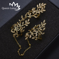 Queen Lotus Fashion Gorgeous Women Rings White Gold Color Wide Double Row Micro Zircon Ring Jewelry Wedding Aneis Delicado 2017