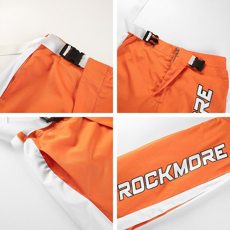 Waatfaak Casual Patchwork Pencil Pants High Waist Buckle Belt Trousers Women Orange Zipper Pocket Sweatpants and Joggers Fitness 8