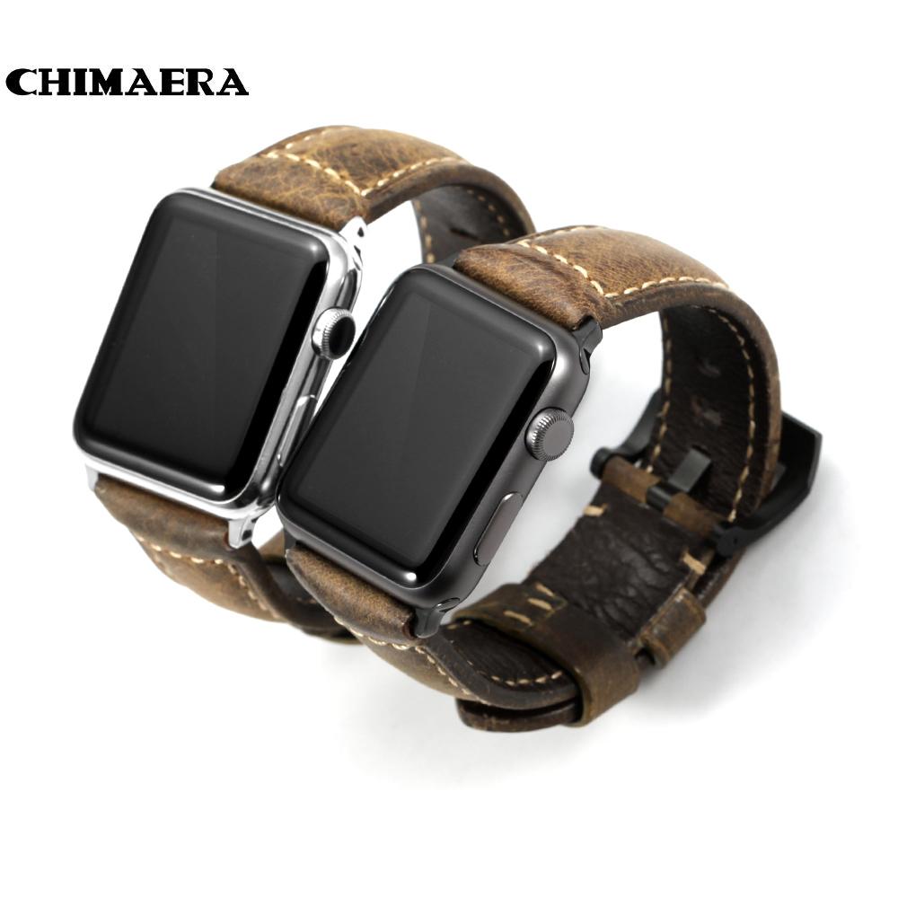 Prix pour Chimaera 42mm main italie assolutamente vintage véritable veau en cuir pour iwatch montre bracelet pour apple watch bandes 42mm 38mm