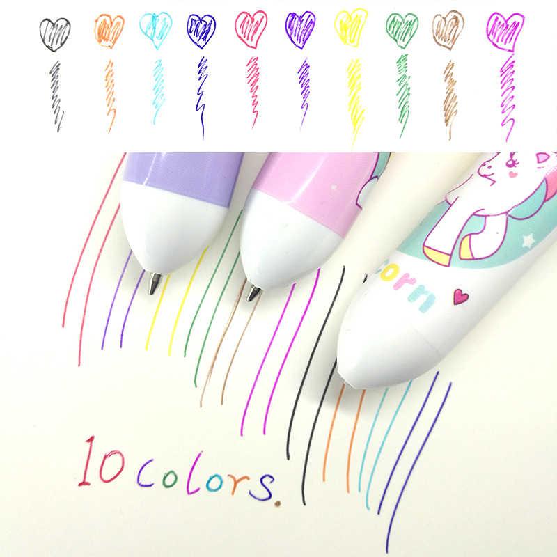 10 цветов в 1 шт. шариковая ручка Роскошные школьные офисные принадлежности подарок канцелярские принадлежности Papelaria Escolar Kawaii цветные ручки Единорог