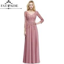Сексуальное шифоновое вечернее платье с v-образным вырезом и пыльной розой, с кружевом, 3/4, вечернее платье с рукавами, vestido de festa