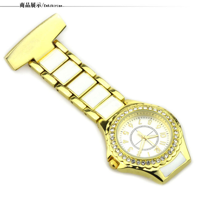 Luxury Gold Medical Nurse Quartz Pocket Watches Luminous Crystal Doctor Stainles