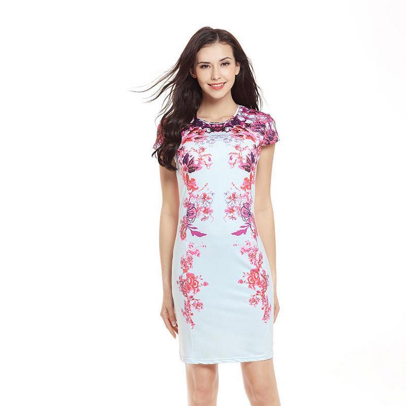 Floral Vogue robe femmes élégant moulante femmes robe nouvelle décontracté argent dames Vestidos nu robe