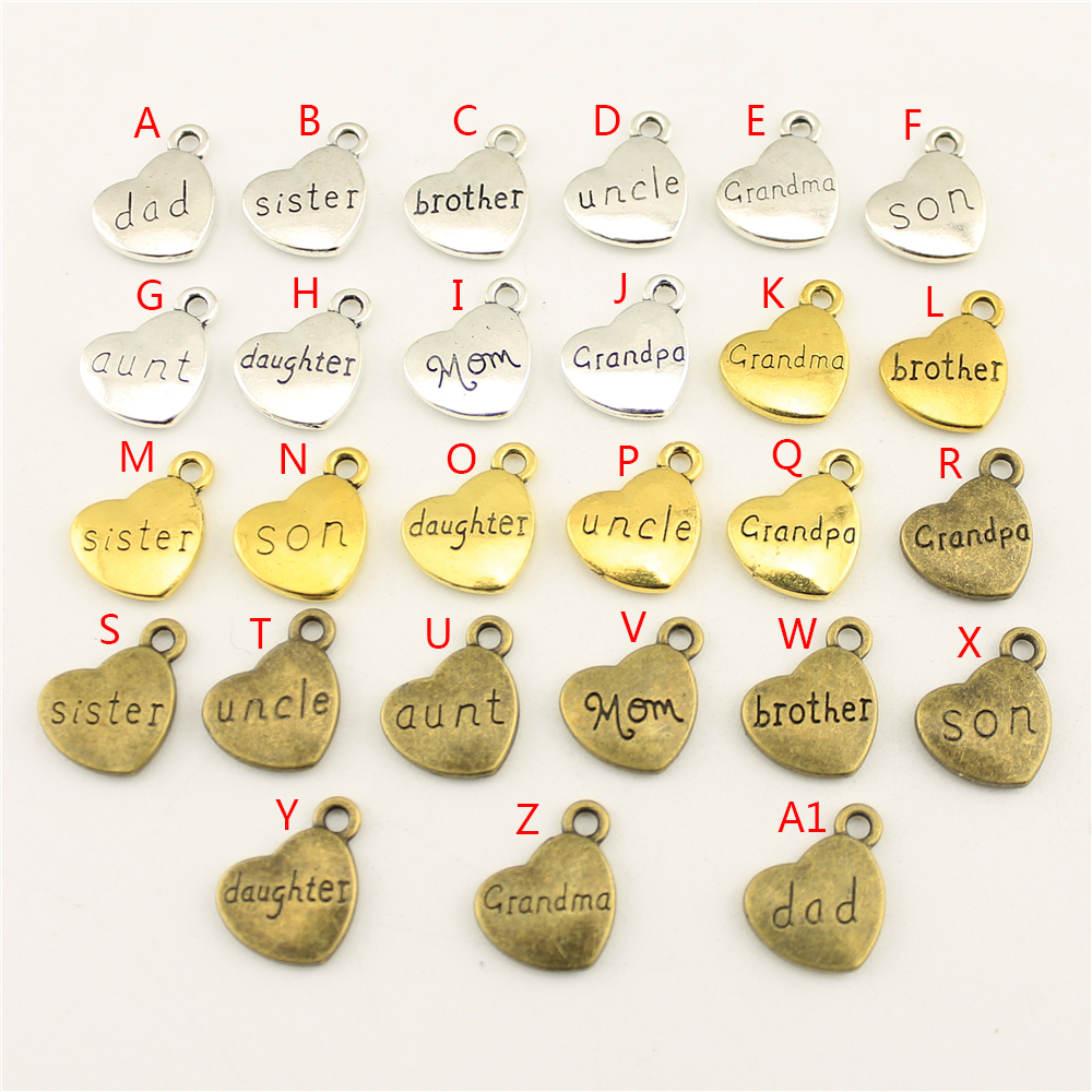20Pcs Wholesale Bulk Jewelry Findings Components Double Sided Dad Heart Diy Accessories Jewelry Female HK005 in Charms from Jewelry Accessories