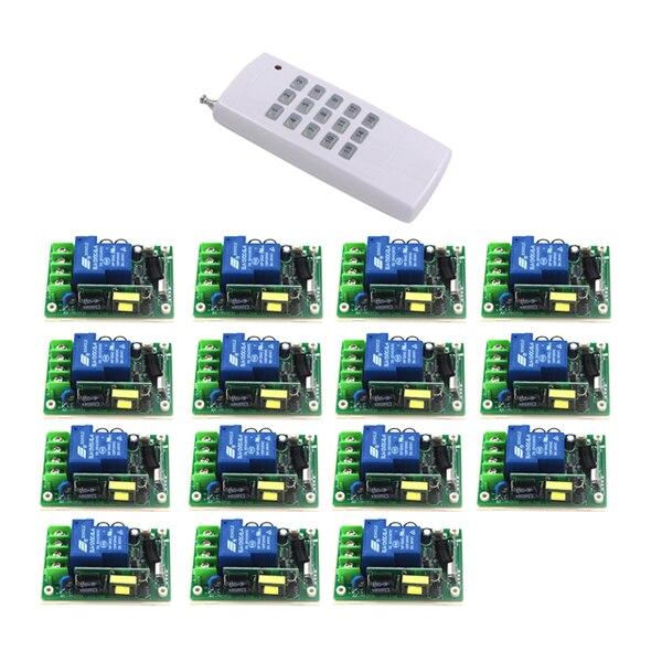 AC 85 V-250 V large gamme 30A relais 1CH sans fil RF télécommande interrupteur émetteur + 15 récepteur auto-bloquant/Jog SKU: 5481