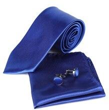 TFGS ashion 8CM Gentleman Solid Wedding Business Hanky Cufflink Neck Tie Set corbatas Gravata Ties for Men Necktie 11 COLORS