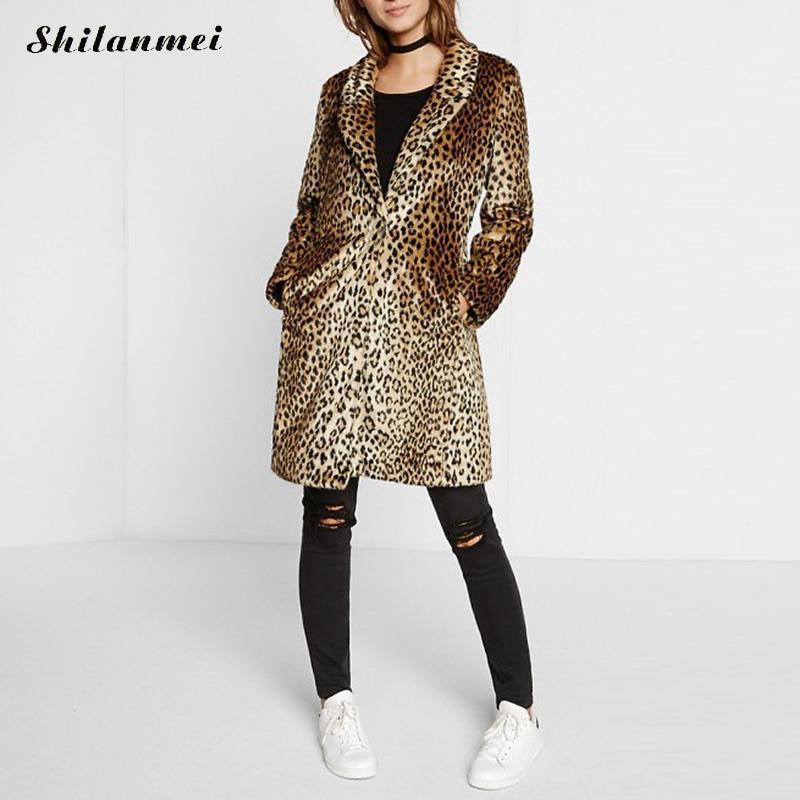 Fake Fur Women Coat leopard brown Overcoat casaco feminino coats manteau femme winter coat women abrigos mujer jas