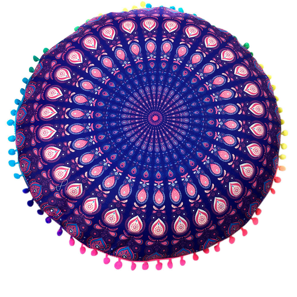 43*43cm Round Indian Mandala Geometric Pattern Decorative Pillowcase Floor Chair Cushion Cover Throw Pillow Case Pillow Cover
