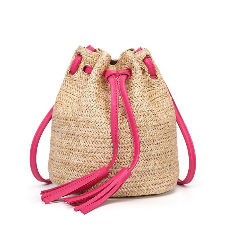 M.S Beach Solid String Mini Bucket Bags Female Summer Knitting Straw Bags Sweet Hot Casual Holiday Crossbody Bag Handbags SW061 (11)