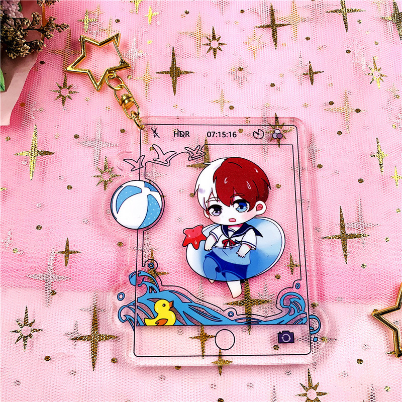 Anime  Buku No Hero Academia Keychain Japanese Cartoon My Hero Academia Figure Car Key Chains Holder Best Friend Graduation Gift