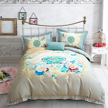 2018 European Flowers Light Tan Bedlinens Winter Thick Duvet Cover Set Sanding Cotton Queen King Size Bedding Sets Pillowcases