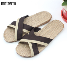 2016 Fashion Home To Fight Cross-Color Linen Slippers Spring Canvas Flax Slippers High quality Large size Men Indoor Slippers