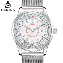 Orkina 2017 Simple Design Stainless Steel Silver Case Calendar Date Display Mens Watches Top Brand Luxury Quartz Fashion Watch