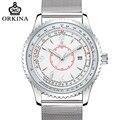 Orkina 2017 design simples caso de prata de aço inoxidável data de exibição calendário mens relógios top marca de luxo de quartzo relógio de forma