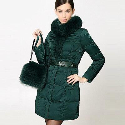 New Brand 2019 Winter Jacket Women Down Jackets Fox Fur With Bag Women's Down Coat Down Outerwear Parkas Long Coats Loose Parka