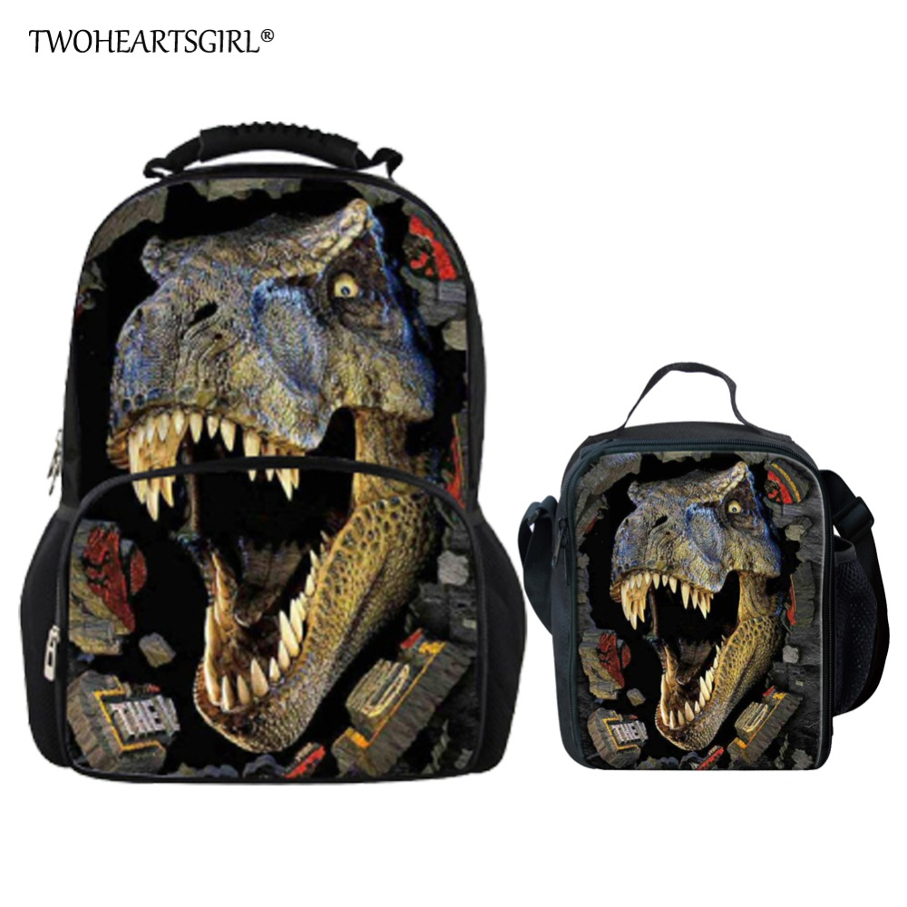 Twoheartsgirl 3d Dinosaur Print School Bag Set for Teen Boys Cool Children Kids Schoolbag Backpack Primary Bookbag Polyester dinosaur print makeup bag