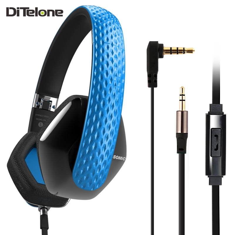 SOMIC M4 Headphones Wired HiFi Super Bass Stereo Headband Noise Cancelling Music Foldable Headset Mic For iPhone insermore active noise cancelling headphones wired bass stereo surround headset with mic flight headband for iphone xiaomi iq 3