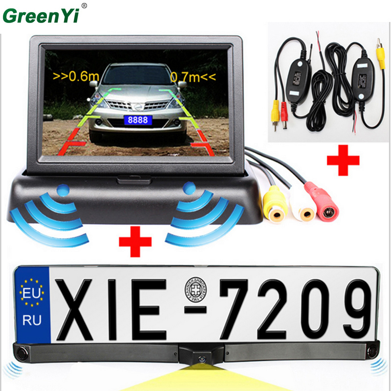 Parking Assistance European License Plate Frame Car Camera,Car Reversing Camera Two Parking Sensors Mirror Monitor And Wireless