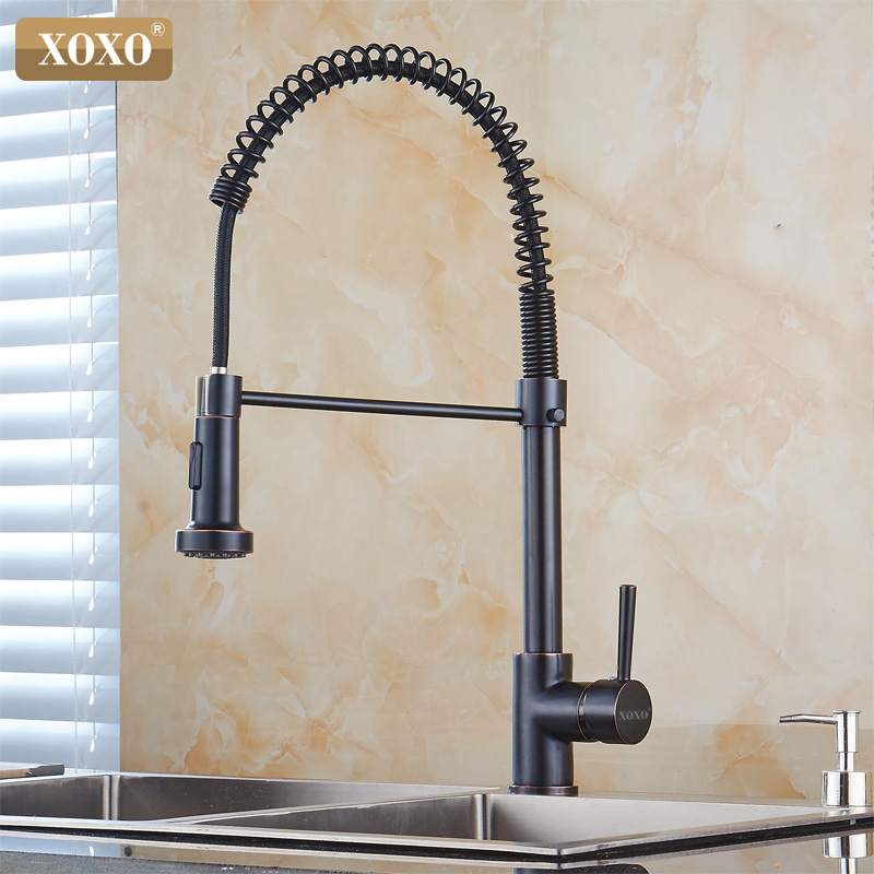 Black Oil Rubbed Kitchen Faucets Pull Out Kitchen Sink Faucet Antique Brass Mixer Single Handle Water