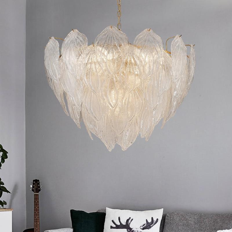 LED ice pendant lamp for Dining Room Modern Design suspension led leaf lamp Villa Living Room Glass pendant lights luminaire LED