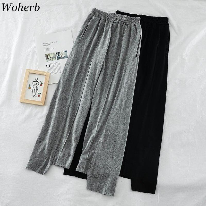 Woherb Summer Casual Elastic High Waist   Wide     Leg     Pants   Joggers Women Asymmetrical Trousers 2019 Loose Solid   Pant   Pantalon Femme