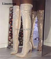 Charming Bling Bling Frauen Spitz Strass Über Knie Dünne Ferse Stiefel Rot Schwarz Kristall Dünne Lange High Heel Stiefel kleid