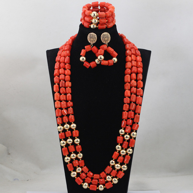 Fashion Red Long Design African Coral Beads Jewelry Sets Indian Jewelry Sets Bridal Necklace Jewelry Sets Free Shipping CJ746